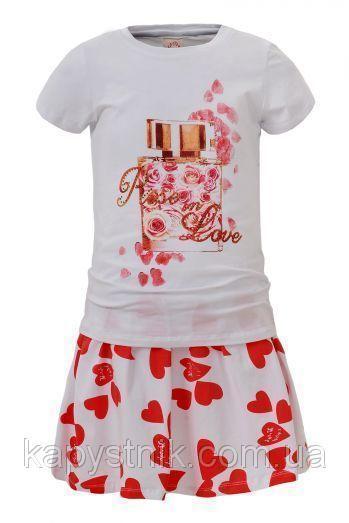 Трикотажный комплект для девочки Glo-Story: GLT-4087 Бел+Крас