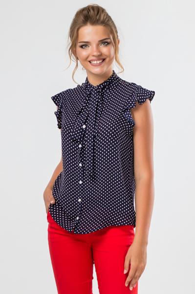 Темно-синяя блузка в мелкий горошек  XS (42)