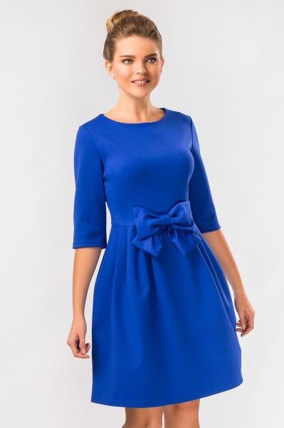 Синее платье с бантом