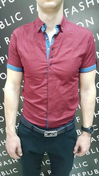 Рубашка мужская короткий рукав FR 165859 марсала