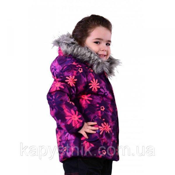 "Зимняя термокуртка ""Цветы"" для девочки р.98-158 ТМ Pidilidi-Bugga (Чехия)"