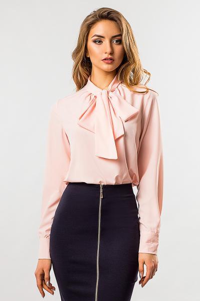 Светло-розовая блузка с галстуком S (44)