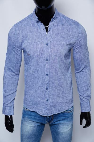 Рубашка мужская льняная Figo 15276_2 светло-синяя