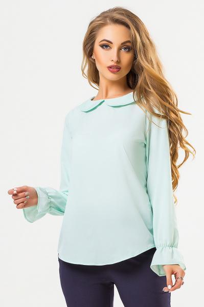 Мятная блузка с круглым воротником