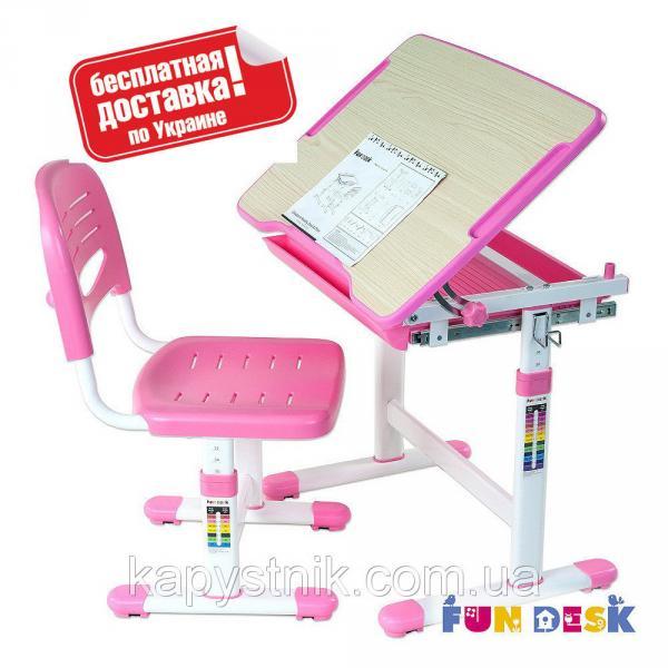 Детская парта-растишка со стульчиком для девочки ТМ FunDesk Piccolino Pink