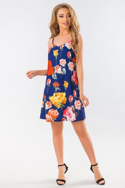 Летнее платье розы на синем