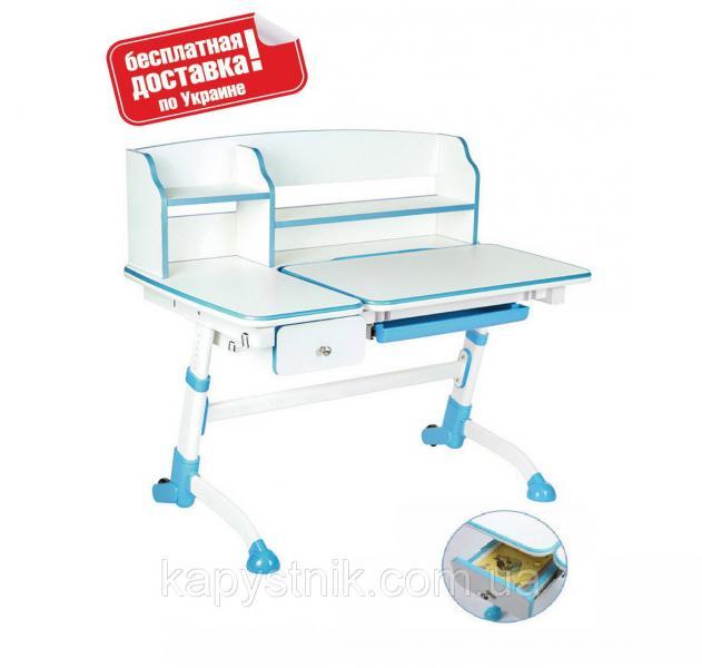 Парта трансформер школьнику для дома ТМ FunDesk Amare II with drawer Blue с выдвижным ящиком