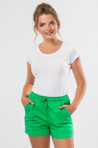 Зеленые льняные шорты