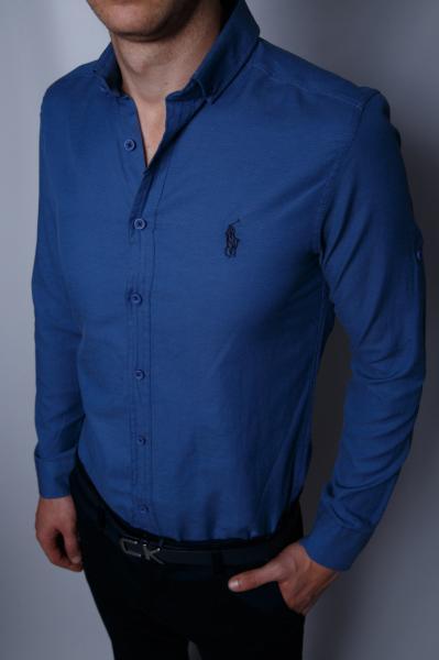 Рубашка мужская Polo Ralph 9195 индиго реплика