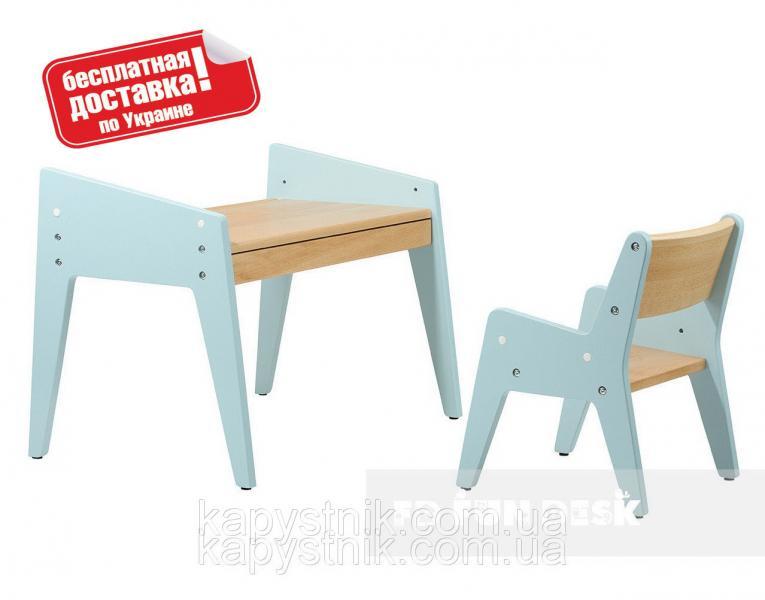 Комплект детской деревянной мебели парта и стульчик ТМ FunDesk OMINO Blue
