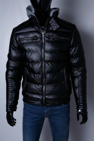 Куртка мужская зимняя кожзам GS 067734 черная
