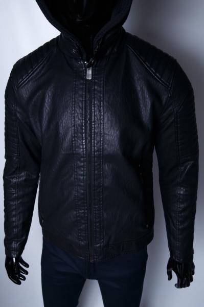 Куртка мужская зимняя кожзам GS 067736 черная
