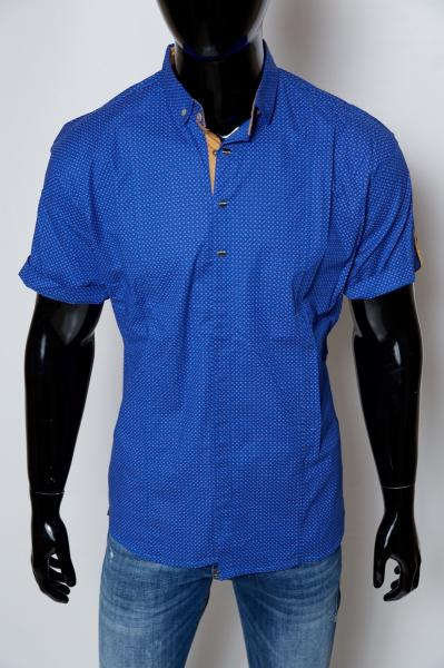 Рубашка мужская с коротким рукавом All Brothers 44767 батал синяя