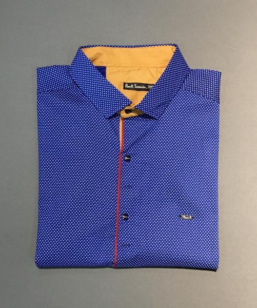 Рубашка мужская с коротким рукавом PS 4499 батал синий
