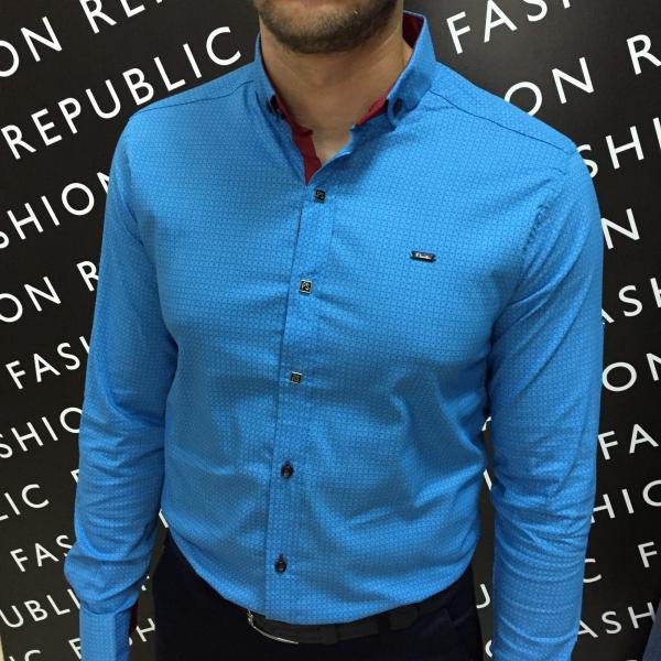 Рубашка мужская PS 6183 бирюза