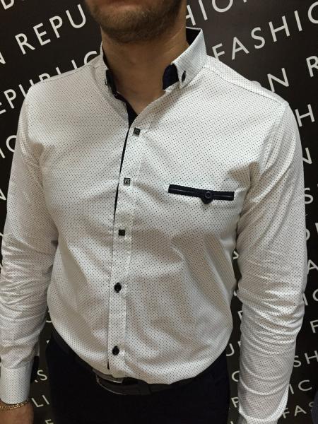 Рубашка мужская PS 6191 горошек белая