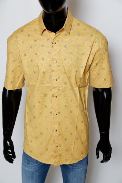 Рубашка мужская короткий рукав Gucci 08708 желтая реплика