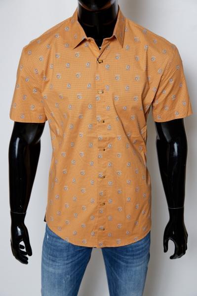 Рубашка мужская короткий рукав Gucci 08709 батал рыжий реплика
