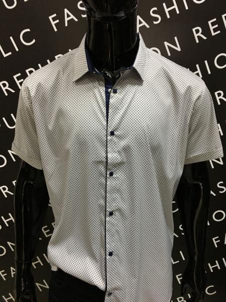 Рубашка мужская с коротким рукавом Amato 731577 айвори батал