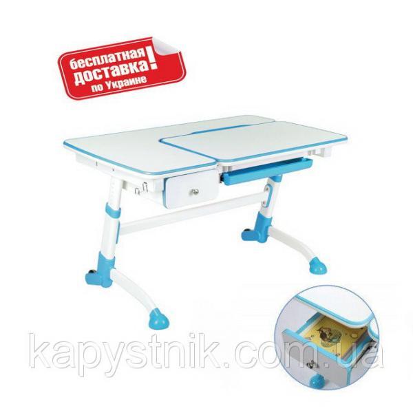 Детская парта для школьника с выдвижным ящиком ТМ FunDesk Amare with drawer Blue