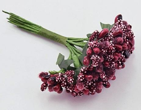 Фото Тычинки , добавки,ягодки Тычинки на веточке  Бордовые -   1  упаковка  12  веточек.