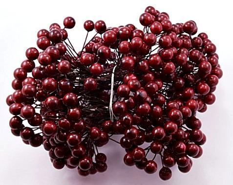 Фото Тычинки , добавки,ягодки Калина   Бордовая  глянцевая  10 мм.   Одна  упаковка  20 проволочек  , 40  ягодок .