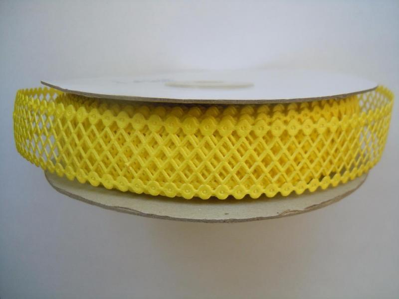 Фото Кружево ,тесьма ,сетка,резинка, Кружево хлопок,сетка -репс Лента  сетка - кружево  22 мм.  Жёлтого  цвета.