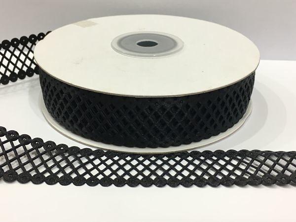 Лента  сетка - кружево  22 мм.   Чёрного  цвета.