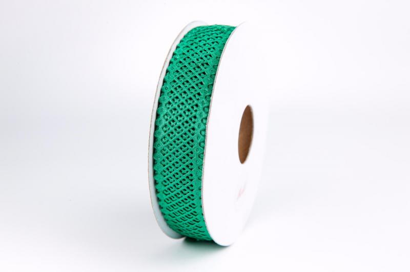 Фото Кружево ,тесьма ,сетка,резинка, Кружево хлопок,сетка -репс Лента  сетка - кружево  22 мм.  Зелёного  цвета.