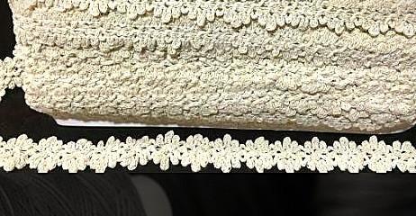 Фото Кружево ,тесьма ,сетка,резинка, Тесьма цветочная Кружево цветок 20 мм. Льяное , вязаное , молочно - кремового цвета.