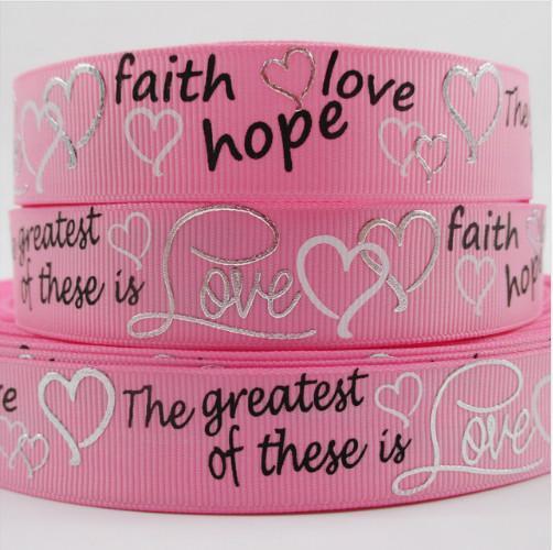 Фото Ленты, Репсовая  и  тканевая  лента  VIP класса. Репсовая    качественная  лента  25  мм.  Розового  цвета  с  серебряной  глитерной  надписью   Love   и  сердечками.