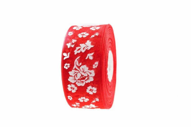 Лента  Органзовая  2,5 см.   Красная  в  цветочках  .