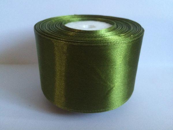 Атласная лента 5 см , цвет  травяной  тёмный