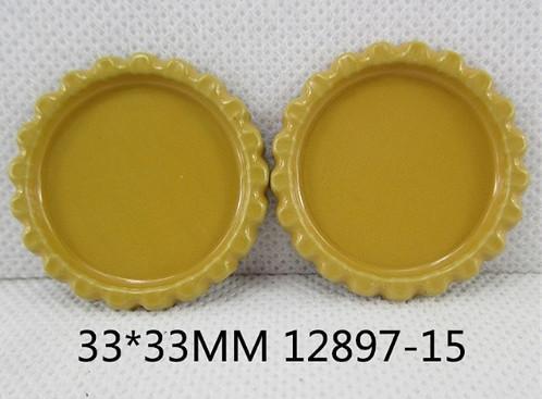 Фото Серединки ,кабашоны, Крышечки,эпоксидная наклейка Металическая  крышечка  Горчичного  цвета , по  наружи  33 мм.  Внутрений  размер  25 мм.