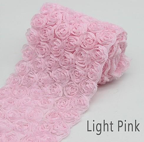 Кружево  85 мм.  в  светло - розовых   Розочках  на  сетке.