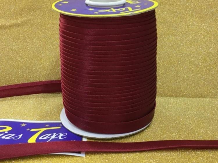 Фото Косая бейка атласная 1,5 см Косая  бейка  атласная Бордовая.   Ширина  15 мм.