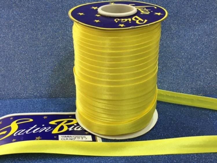 Фото Косая бейка атласная 1,5 см Косая  бейка  атласная жёлтая  Ширина  15 мм.