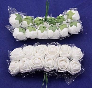 Фото Цветы искусственные Роза  латексная  2 - 2,2 см ,  Белая  с  фатином.    Упаковка   12  цветочков.