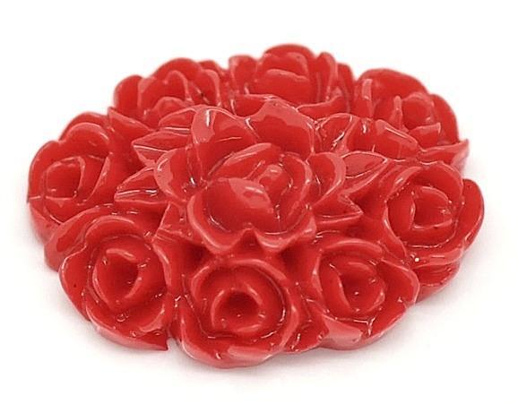 Кабашон  18 * 13 мм.  акриловый  в  Красных  розах.