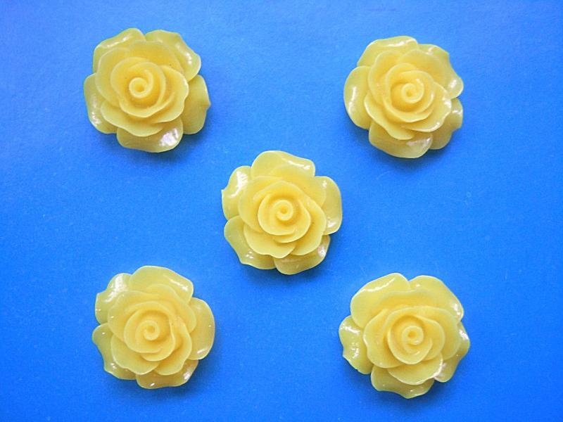 Фото Серединки ,кабашоны, Кабашоны, камеи Кабашон  .   Роза  акриловая   жёлтого   цвета  19 - 20 мм.