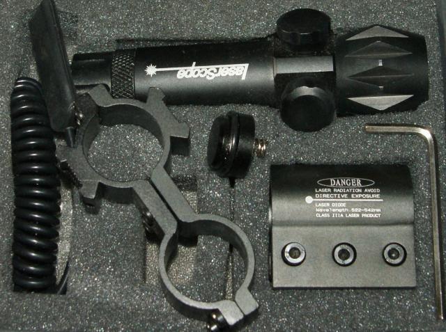 Лазерный целеуказатель LASER SCOPE с зеленой точкой, с креплением 21 мм и подствольным (провод/кнопка)