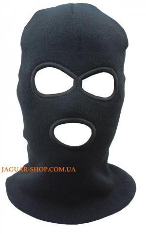 Шлем маска вязанная с прорезями для глаз и рта черная