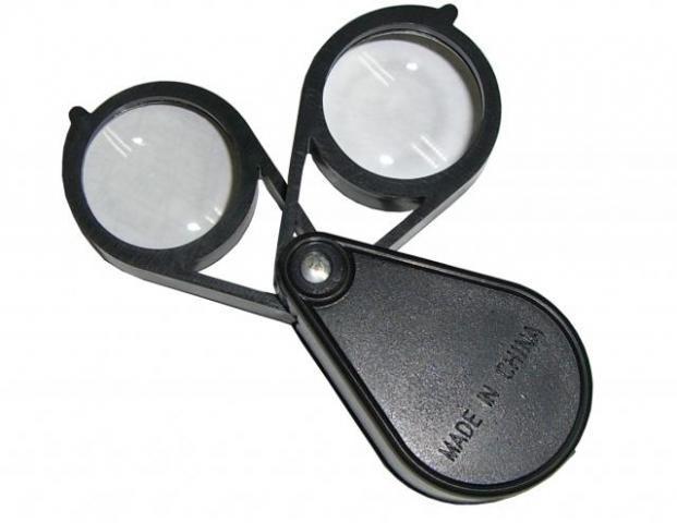 Лупа в футляре круглая двойная пластик 20х30   YJ7002