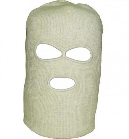 Шлем маска вязанная с прорезью для глаз и рта белая