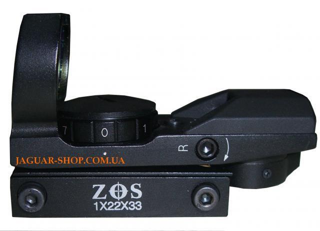 Прицел 1х22х33 ZOS коллиматорный с креплением 8 мм (4 маркера, красный)