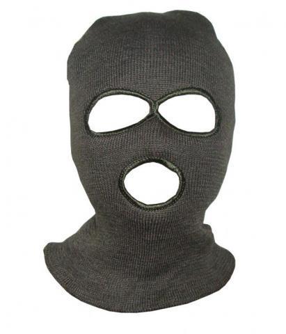 Шлем-маска вязанная с прорезью для глаз и рта зеленая