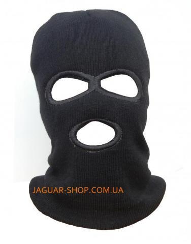 Шлем маска вязаная на флисе зимняя М-10 черная с прорезью для глаз и рта