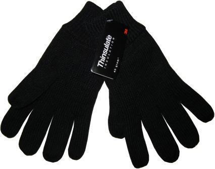 Перчатки вязаные с утеплителем черные