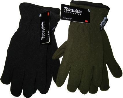 Перчатки флис на подкладе черные/зеленые