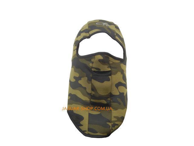 Шлем маска с прорезью для глаз и рта камуфляж (флис внутри)